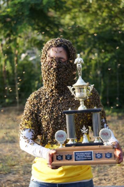 Canada Ontario Photos :: Aylmer :: Winner of 10th Annual Clovermead Bee Beard contest in Aylmer