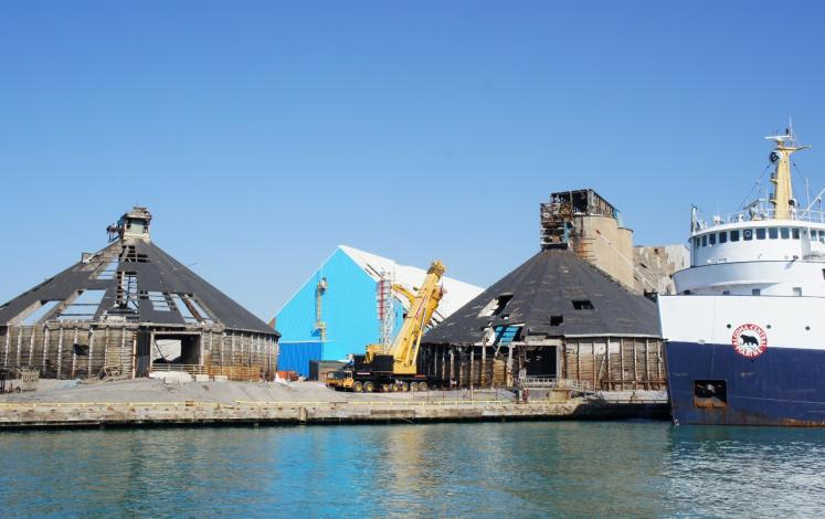 Canada Ontario Photos :: Goderich :: Goderich Salt Mine Storage damaged Aug. 22, 2011 Tornado still in need of repair Oct. 9