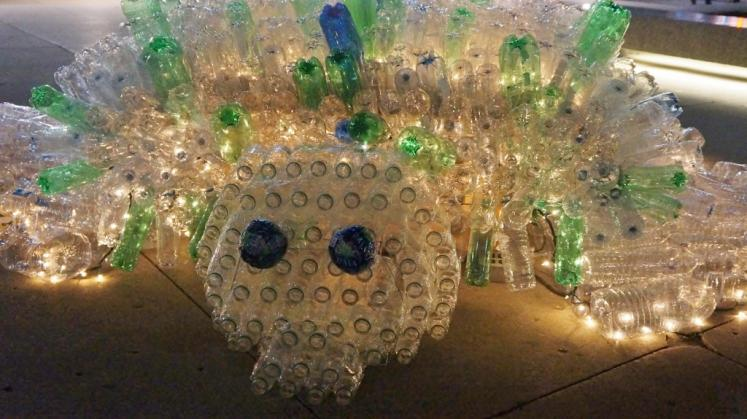 Canada Ontario Photos :: Kitchener :: Recylced Pop Bottles Turtle for Nightshift downtown Kitchener