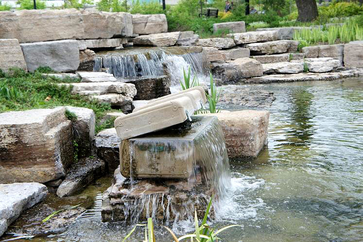 World Travel Photos :: Fountains :: Ontario. Cement Suitcase Fountain Art Work at Victoria Park Kitchener