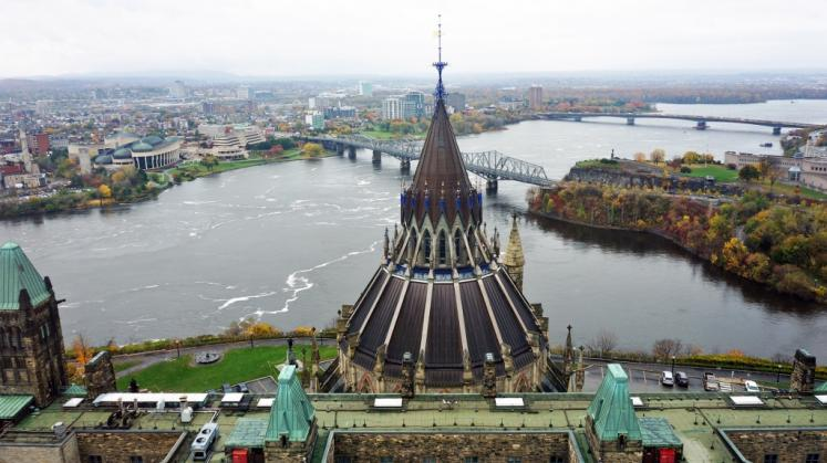 Canada Ontario Photos :: Ottawa :: Aerial View From Top of Parliament Buildings in Ottawa