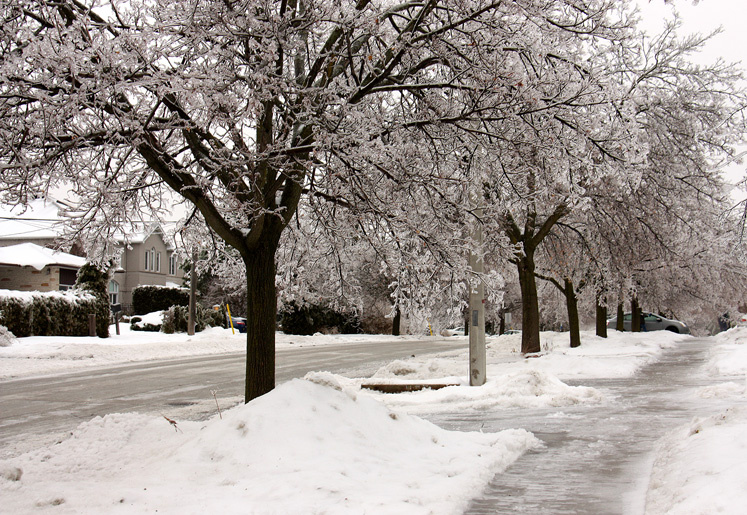 Canada Ontario Photos :: Richmond Hill :: Richmond Hill. A sidewalk covered with ice