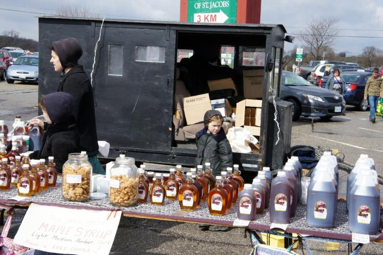 Canada Ontario Photos :: St. Jacobs :: Mennonites Selling Maple Syrup at St.Jacobs Farmers Market