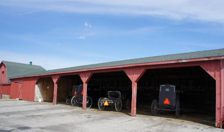 Canada Ontario Photos :: St. Jacobs :: Mennonites Wagons Parked at the St.Jacobs Farmers Market