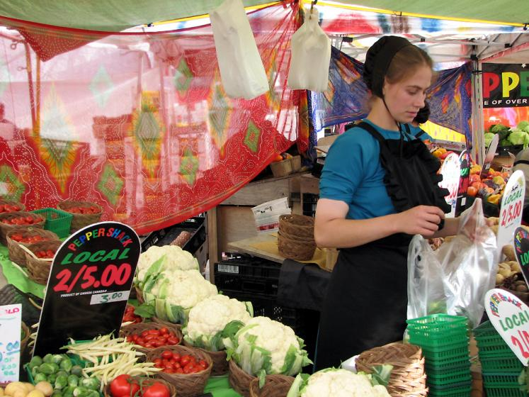 Canada Ontario Photos :: St. Jacobs :: St. Jacobs market. Menonite girl selling vegetables