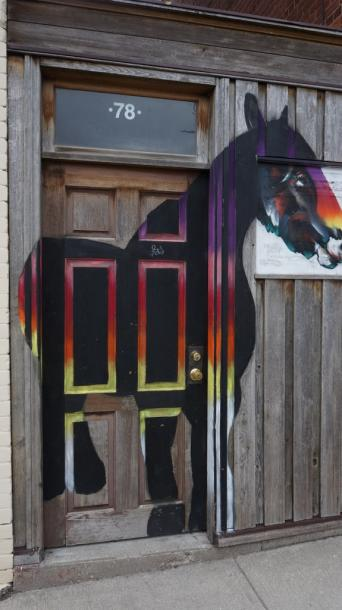 Canada Ontario Photos :: Stratford :: Horse Painted on Door in Stratford