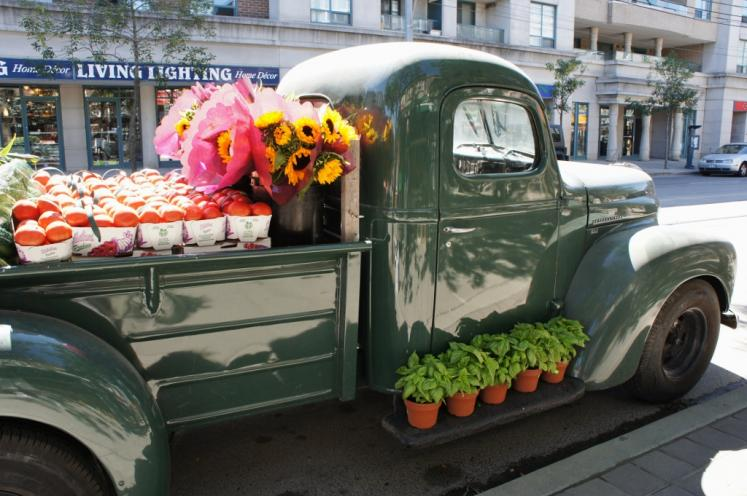 Canada Ontario Photos :: Toronto :: Pick up Truck in front of Flower Vegetable Store in Beaches Toronto